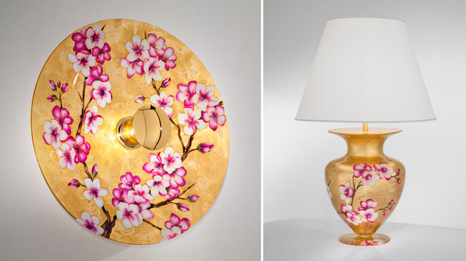 Wand- und Tischleuchte, Dekor Primavera